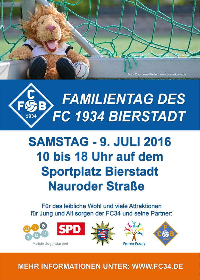 Das Poster zum Familientag des FC34 und seiner Partner wird ab der kommenden Woche in Bierstadt zu finden sein.